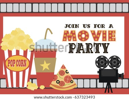 Movie Birthday Party Invitation Card Design Stock Vector 637323493