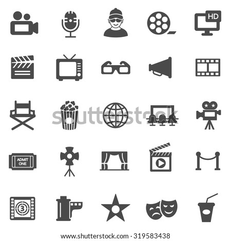 Movie black icons set.Vector - stock vector