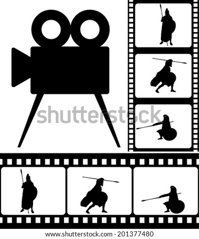movie camera and films. vector illustration - stock vector