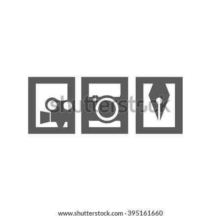 Movie camera,Digital Camera,Pen tool icon - stock vector
