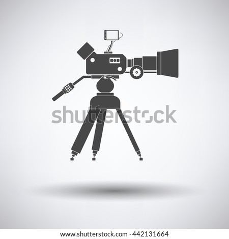 Movie camera icon on gray background, round shadow. Vector illustration. - stock vector