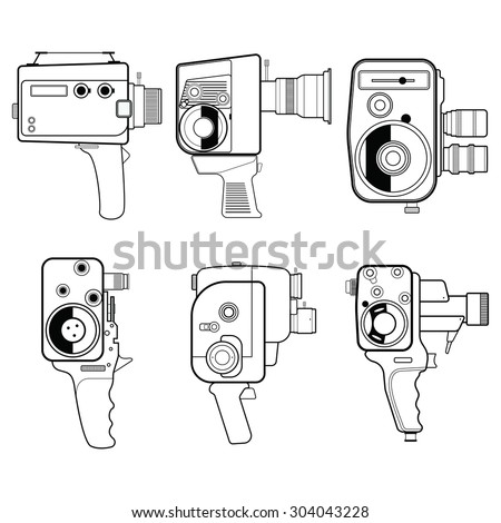 movie camera vintage line isolated on white background. Vector illustration - stock vector