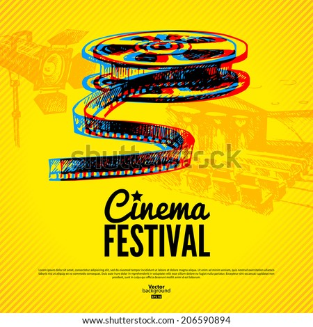 Movie cinema festival poster. Vector background with hand drawn  - stock vector