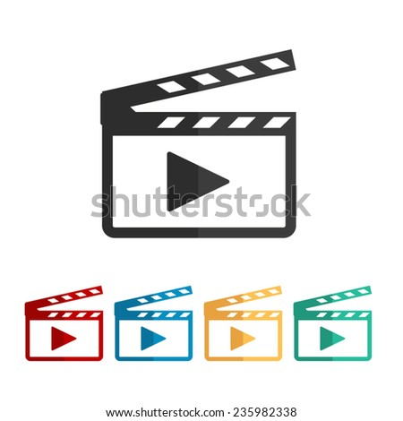 Movie clap - vector icon, flat design - stock vector