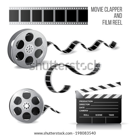 Movie clapper and film reel over white background - stock vector