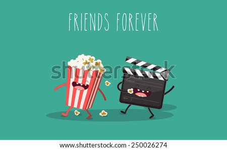 Movie clapper and popcorn in box. Vector cartoon. Movies, cinema. Vector cartoon. fast food. Friends forever.  - stock vector
