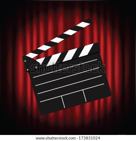 Movie clapper board against curtain - stock vector