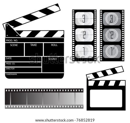 Movie clapper board and filmstrip - stock vector
