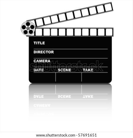 Movie clapper board and filmstrip vector - stock vector