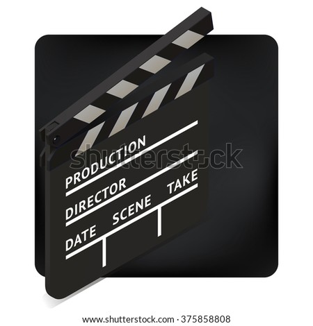 movie clapper board isometric perspective vector illustration. blank film slate. cinema production icon sign.