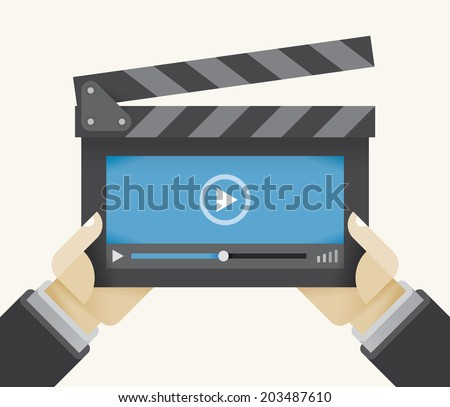 Movie clapper board with abstract video player window in director's hands. Idea - Online films and video, Cloud computing video movie database, Mobile video, Advertisement and Advertising. - stock vector