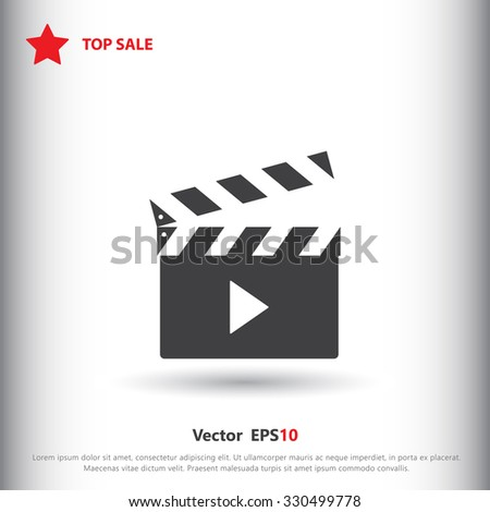 Movie clapper sign icon, vector illustration. Movie clapper symbol. Flat icon. Flat design style for web and mobile. - stock vector