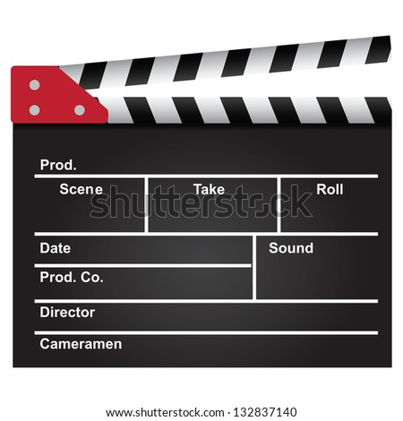 Movie clapper used in the film industry. Background. Vector illustration.
