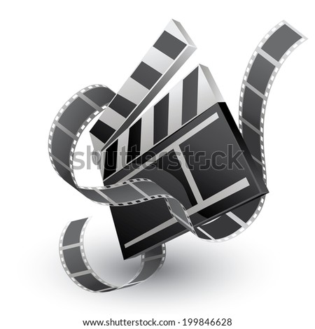 movie clapper with film strip - stock vector