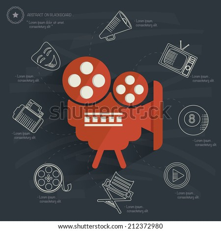 Movie concept on blackboard background,clean vector - stock vector