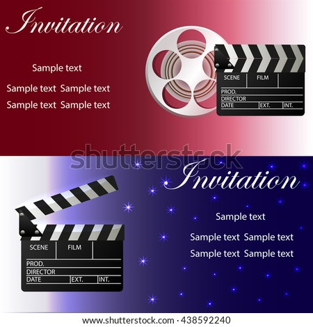 Movie concept template movie clapper movie stock photo photo movie concept template with movie clapper movie reel two variants of invitation stopboris Image collections