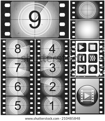 Movie countdown, vintage silent film and blank full frame still photography film (realistic thirty five millimeters proportions), set of icons - stock vector