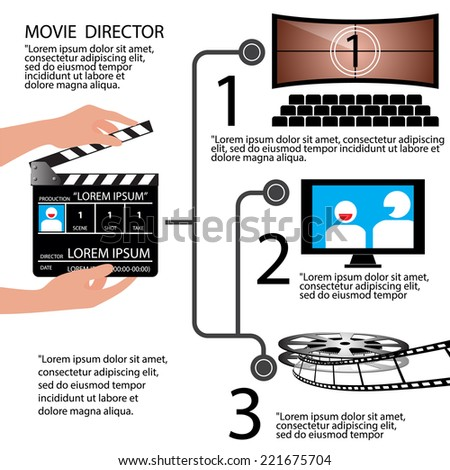 Movie Direction concept Infographic, vector Illustration   - stock vector
