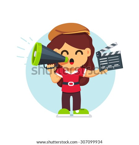 Movie director girl in directors hat standing with with loud speaker and clapperboard. Flat style cartoon vector illustration isolated on white background. - stock vector