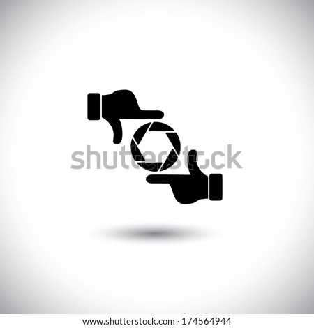 movie director's hand gesture of process of movie production. This vector graphic is a simple vector representation of framing a photo or video, film making, director's vision, motion picture making - stock vector