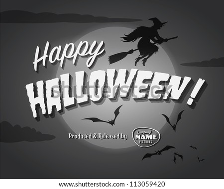 Movie ending screen - Happy Halloween - Vector EPS10 - stock vector
