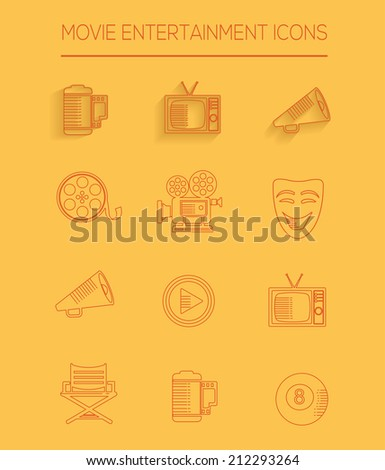 Movie entertainment icons,clean vector - stock vector
