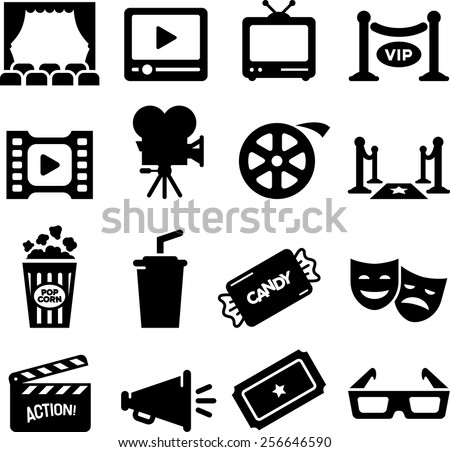 Movie, Film and Theater icon set. Vector icons for digital and print projects. - stock vector