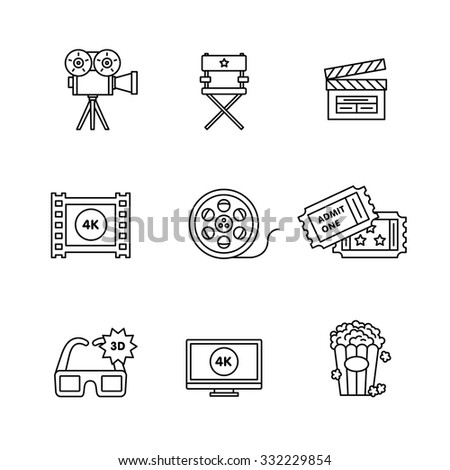 Movie, film and video icons thin line art set. Black vector symbols isolated on white. - stock vector