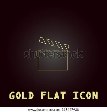 Movie film board. Outline gold flat pictogram on dark background with simple text.Vector Illustration trend icon - stock vector