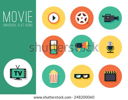 movie film, cinema. Illustrated icons in a flat style of a different color