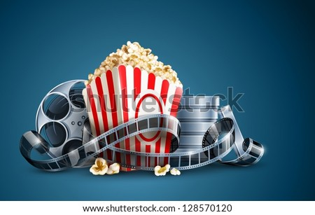 movie film reel and popcorn vector illustration on the blue background EPS10. Transparent objects used for shadows and lights drawing. Vector Illustration. - stock vector