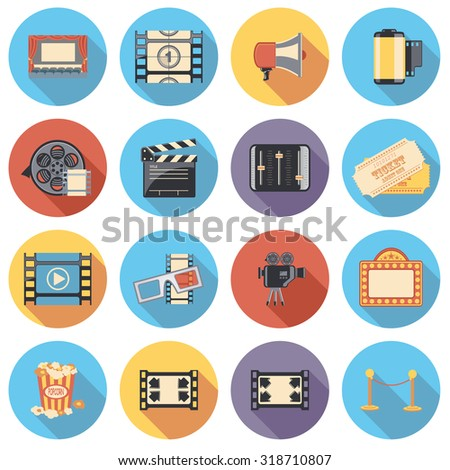 movie flat circle icon set