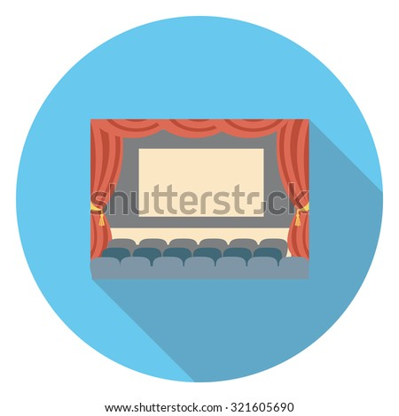 movie flat icon in circle - stock vector