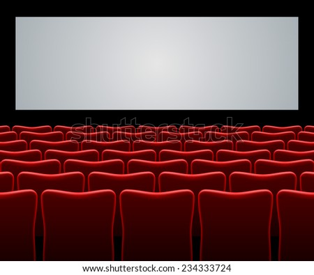 Movie hall with red seats and blank screen vector background. - stock vector