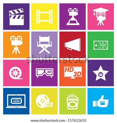 Movie Icon on color background - stock vector