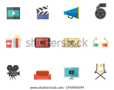 Movie icon series in flat color style - stock vector