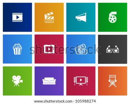Movie icon series in Metro style - stock vector