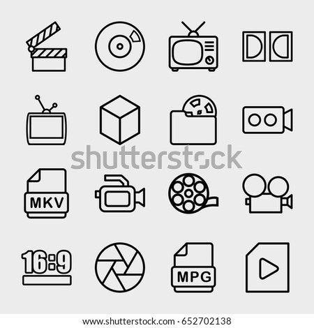 Movie Icon Set 16 Movie Outline Stock Vector 622666649 - Shutterstock