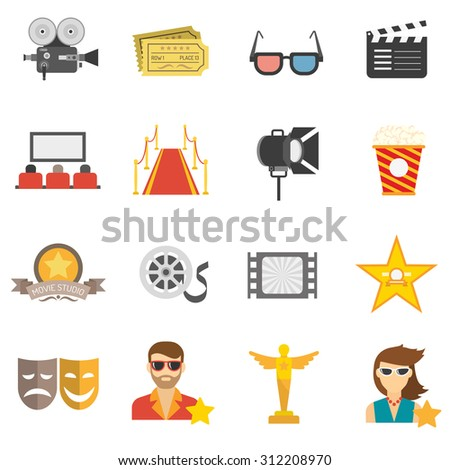 Movie icons flat set with film camera 3d glasses and clapperboard isolated vector illustration - stock vector