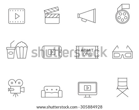 Movie icons in thin outlines. Cinema, theater. - stock vector