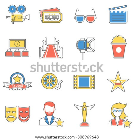 Movie icons line set with theater film reel screen isolated vector illustration - stock vector