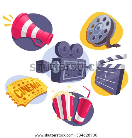 Movie Icons Set (Megaphone, Reel, Camera, Ticket, Clapperboard and Fast Food). Vector Illustration. - stock vector