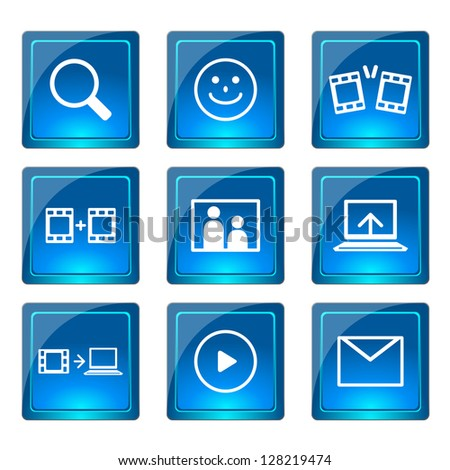 Movie icons set, vector - stock vector