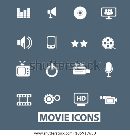movie icons set. vector - stock vector