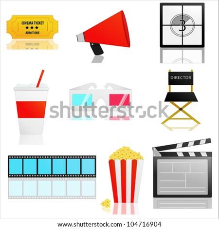 Movie icons vector - stock vector