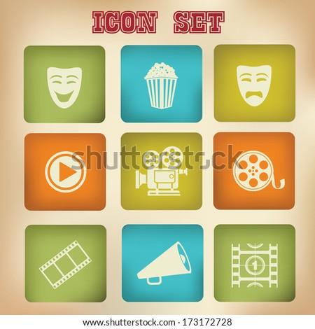 Movie icons,vintage version,vector - stock vector