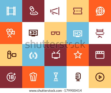 Movie industry and cinema icons. Flat - stock vector