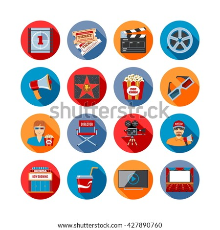 Movie Long Shadow Icons Set. Vector Illustration - stock vector