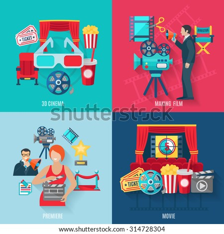 Movie making and premiere icons set with 3d cinema film stars and director flat isolated vector illustration  - stock vector