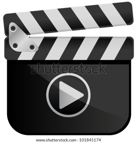 Movie Media Player Film Slate - stock vector